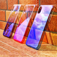 Wholesale Plastic Mirror Material - For iPhone X Case Mirror Plating Gradient Color Slim Plastic Material Protection Transparent Shockproof Hard Back Cover For iPhone 8 7 Plus