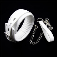Wholesale Leather Slave Collar Chain - White PU Leather Neck Collar With Chain Slave Bandage Restraints Sex Toys For Couples Adult Games