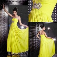 Wholesale Strapless Chiffon Yellow Dress - Yellow A Line Elegant Backless Evening Gown Dresses 2015 Strapless Floor Length Ruched Chiffon Custom Made Sleeveless Evening Gown Party