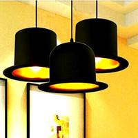 portalámparas negro colgante al por mayor-Jeeves Wooster Top Hat Luces colgantes diseño 110v 220v e27 portalámparas aluminio sombrero luz para el hogar Exterior Negro Interior Dorado