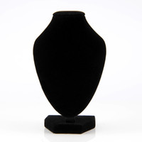 Wholesale Black Velvet Necklace Jewelry Displays - 1pc Black Velvet Pendant Necklace Chain Bust Neck Display Holder Stand Showcase Free shipping