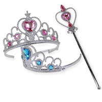 Wholesale girls pageant crowning dresses - Kids Tiara Dress Princess Children Crown Hair Accessories for Girls Hearts Tiara Baby Party Pageant Hairbands Gift IB294