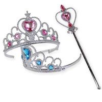 saç bantları çocuk tacı toptan satış-Çocuklar Tiara Elbise Prenses Çocuk Taç Saç Aksesuarları Kızlar için Kalpler Tiara Bebek Parti Pageant Hairbands Hediye IB294