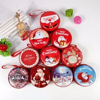Wholesale Wholesale Cartoon Tin Boxes - Cute Christmas Candy Boxes Bag Gifts Holders New Year Coin Earphone Snack Supplies Packaging Party Decorations For Children