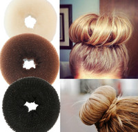 Wholesale Hair Ring Small - Wholesale-3PCS Retail Hair Styling Donut Bun Maker Ring Style Bun Scrunchy Sock Poof Bump for hair Large Medium Small