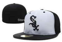Wholesale White Sox Hat Fitted - Wholesale-Men's Baseball Fitted Hats Sport CWS Team Adult's full Closed caps sox embroidery black white color with size