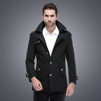 Wholesale Overcoat Fur Mens - Fall-Mens Pea Coat Wool Men Winter Famous Brand Long Pea Coat Fur Collar Overcoat Manteau Homme Cappotto Casaco Masculino ZW630
