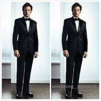 Wholesale Mens Black Satin Bow Tie - Black Mens Wedding Suits 2015 Two Buttons Groom Tuxedos with Satin Notched Lapel Custom Made Formal Prom Suits (Jacket+Pants+Bow Tie)