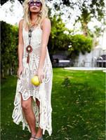 Wholesale Sleeveless Knit Dress Woman - white crochet dress Brand FP Women Summer Sleeveless V-Neck Backless Irregular Knitting white Dress Long Harness Crochet Dress