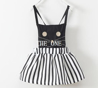 Wholesale Kids White Suspenders - spring fall 2016 black white stripes short dress lolita cat dress suspender skirt baby girl girls slip dress kids cat striped dress in stock