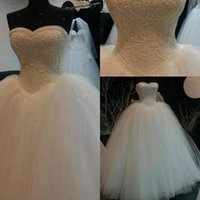 Wholesale Sweetheart Appliques Beaded Ruched - 2016 Romantic Sweetheart High Qulaity Ball Gown Wedding Dresses Real Image Hand Made Beaded Crystals Pearls Lace Top Plus Size Bridal Gowns