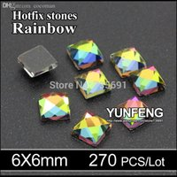 Wholesale Used Shoes For Sale - Wholesale-2015 Sale crystal Stones Rainbow Square stone 6X6mm 270pcs lot Hotfix rhinestones use for garment bags shoes free shipping
