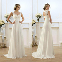 Wholesale Custom Empire Waist Dresses - Vintage Modest Wedding Gowns Capped Sleeves Empire Waist Plus Size Pregant Wedding Dresses Beach Chiffon Country Style Bridal Gown Maternity