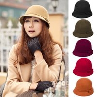 Wholesale Christmas Lady Hot - Hot Sales Vintage Women Ladies Wool Fedora Bucket Dome Cloche Bowler Warm Hat Stingy Brim Caps fx224 Free Shipping