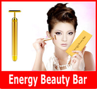 Wholesale Beauty Massager Gold - 2015 Beauty Bar Energy Beauty Bar 24K Gold Pulse Firming Massager Facial Roller Massage Facial Body Massage & Relaxation With Boxes