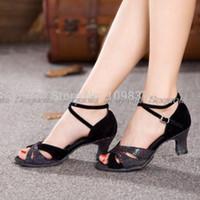 Wholesale Golden Dance Shoes - Wholesale-AffordableHot Sale 8-color 5.5cm-heel Affordable Women Elegant Latin Dancing Shoes MY5395s