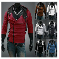 Wholesale Men Short Sleeve Cardigans - 2017 newest NEW Assassin's Creed desmond miles Style cosplay hoodie multicolor optional free shipping D225
