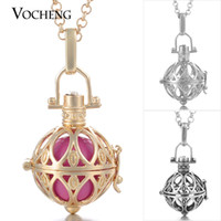 Wholesale Round Cage Necklace - VOCHENG Caller Harmony Round Cage Pendant Long Sweater Necklace Angel Ball Pendants with Stainless Steel Chain VA-062