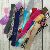 Wholesale Shimmery Foe - Baby Knott Headband Shimmery Headbands Shimmer Fold Over Satin Elastic Stretchy Baby FOE Headband 240pcs lot