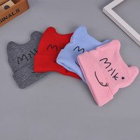 Wholesale Knitted Character Baby Hats - Baby Wool Hat Winter Children Cat Ear Flanging Cap Cartoon Shape Baby Knitted Cap