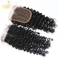 grade 6a bakire saç toptan satış-Moğol Sapıkça Kıvırcık Dantel Kapatma Ücretsiz / Orta Kısmı Boyutu 4X4