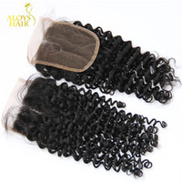 "Wholesale Virgin Curly Hair Grade 6a - Mongolian Kinky Curly Lace Closure Free Middle Part Size 4X4"" Grade 6A Afro Kinky Curly Virgin Human Hair Lace Top Closures Landot Hair"