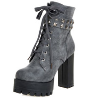 Wholesale Large Chunky Chain - SJJH Women Ankle Boots with Large Size and High Chunky Heel and Thick Platform Rivet Boots Sexy Boots for Parties Q077