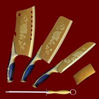 şef soyucu toptan satış-Wholesale-5 pieces / set Yüksek Kalite Paslanmaz Çelik Mutfak Bıçağı Seti Profesyonel Şef Bıçağı + Soyucu