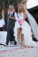 ingrosso champagne di avorio di organza-2019 nuovo arrivo bianco avorio organza abiti da sposa alti bassi innamorato increspato abiti da sposa senza maniche corte treno vendite calde personalizzate W2101