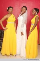 Wholesale Cheap Yellow Beads - Cheap Yellow Chiffon Bridesmaid Dresses 2016 One Shoulder Beads A-Line Floor Length Nigerian Wedding Party Maid of Honor Dresses Prom Gowns