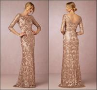 brautkleid rose großhandel-Langarm Roségold Kleider für die Brautmutter 2019 Bateau-Ausschnitt Vintage-Spitze Schleppzug Formelle Abendgesellschaft Tragen BA0528