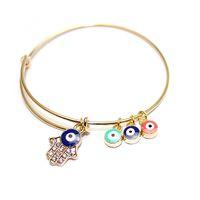 Wholesale Cheap Evil Eye Bracelets - Fashion Cheap Wholesale Hamsa Hand Evil Eye Gold Bracelet Bangles Expandable For Women as gift 2016