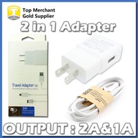 Wholesale Charger Set Kit Micro Usb - Wall Charger Travel Adapter USB kit Set Full 5V 2A 1A US EU plug Micro USB Cable For Galaxy S5 S6 S7 with Package No Logo