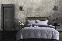 Wholesale Grey Orange Duvet - Silver grey 60s egyptian cotton solid color Bed Set king queen size Bedding Sets silky soft Duvet Cover Bed Sheet pillow shams