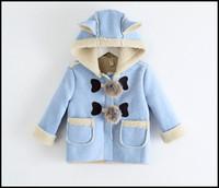 Wholesale Kids Hoodies Ears - 2015 girls winter coat kids girl candy color fashion dustcoat baby hoodie outwear clothing bulb ears hooded coats J092801# DHL