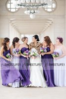 Wholesale Sweetheart Neckline Cheap Bridesmaid Dresses - 2016 Cheap Purple Lilac Bridesmaid Dresses with Sweetheart Neckline Open Back Customized Maid of Honor Gowns Chiffon Sweep Train Ruched New