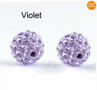 Wholesale Disco Ball Bead Bracelet Shamballa - 100pcs lot 10mm Purple Shamballa Beads,Shamballa Bracelet Crytal Beads, Disco Ball Crystal Beads Free Shipping