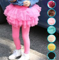 Wholesale Tights Skirt One Piece - Girls Pantskirt Legging Tutu Skirts Culotte 8 Colors Princess Gauze Tight Trousers Tutu Skirts One-piece Pants Children Kids Cotton Clothing