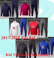 Wholesale Fa Shipping - 17 18 kid tracksuit Chelsea Training suit FA Premier League tracksuit kid set with long pant factory wholesale price 5size fast shipping