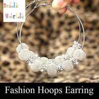 Wholesale Mesh Ball Hoop Earrings - wholesale Silver Basketball Wives Mesh Ball Beads Hoop Earrings W  Rhinestone Spacer Beads