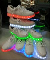Wholesale Neon Casual Shoes - NEW Led Shoes For Men Fashion USB charging Light Up Casual Shoes For Adults 7 Colors Outdoor Glowing Women Size35-44 chaussure neon basket