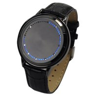 Wholesale Cool Electronic Led Watch - Fashion Cool Touch Screen LED Binary Wrist Watch Blue Light Electronic Digital casual Watch for Men Women