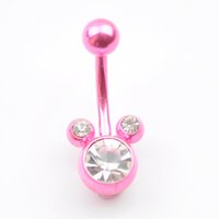 Wholesale Bell Drop White - D0126-1 BODY JEWELRY PIERCING Nice style Navel belly ring 10 pcs PINK color stone drop shipping