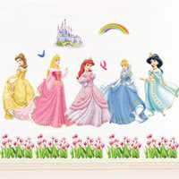 Wholesale Hot Girls Posters - Snow White Wall Stickers Waterproof Girls Princess Room Décor Wall Decals Poster Decor Art Kids Nursery Room Cartoon Sticker hot selling