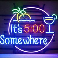 neon disco zeichen großhandel-Es ist 5:00 Irgendwo Palm Trinken Bier Bar Öffnen Leuchtreklamen Echtglas Tuble Disco KTV Club PUB Werbung Display Zeichen 17