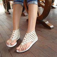 Wholesale Brown Women Shoes Sandals - 2015 Hot Women Girls Ladies Beach Flat Shoes Roman Style Hollow Fish Scale Sandals Flip-Flops Zipper Slippers
