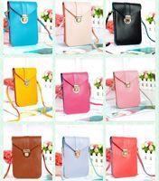 Wholesale Men S Bags Wholesale - Wholesale-Cute Sweet Girl Womens Retro PU Leather Shoulder Messenger Bags Cell Phone Case Pouch 10Colors [C1395-S]