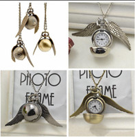 Wholesale Golden Star Charm - Harry Potter Golden Snitch Pocket Watch Steampunk Quidditch Wings Watch harry potter wings necklace men and women movie star charm W233