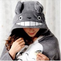 Wholesale air cape - New Fashion My Neighbor Totoro Lovely Plush Soft Cloak Totoro Cat Cape Cartoon Cloak Coral Fleece Air-Condition Sofa TV Blanket