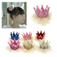 Wholesale Slide Hair Barrettes - Christmas Lace Crown Barrettes Baby Hair Accessories 2015 Korean Princess Hair Slides Children Hair Accessories Kids Girl Hair Clips